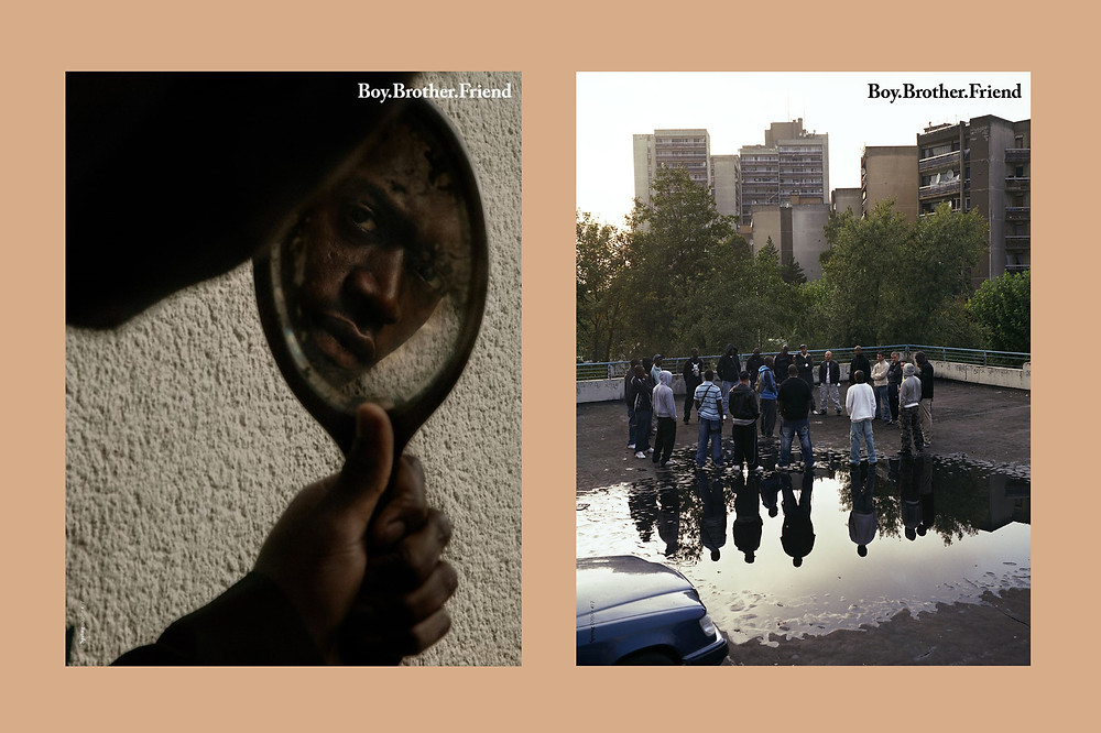 Two covers of Black owned British Magazine Boy.Brother.Friend on a peach background