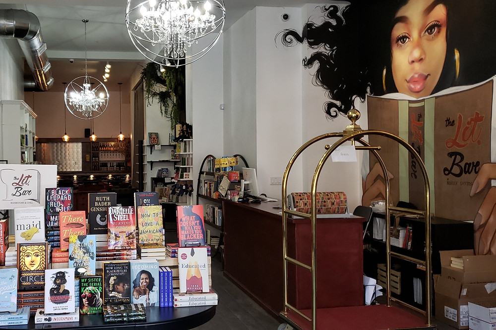 A photo of the inside of black-owned bookstore The Lit Bar located in New york