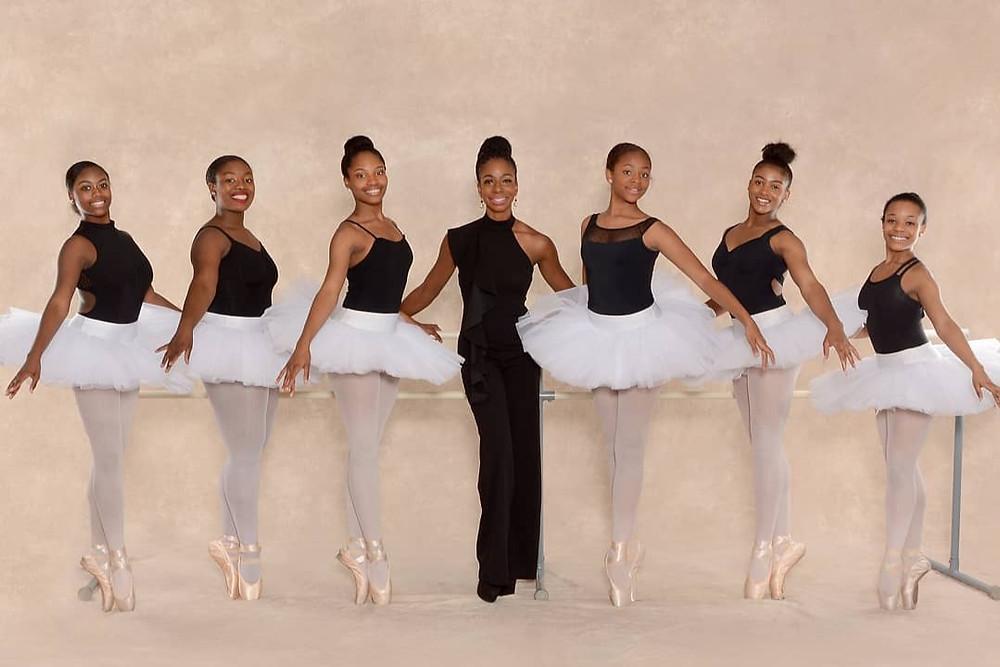 Black Ballet school Ballet Nouveau founder Kristen S. Stevenson with students