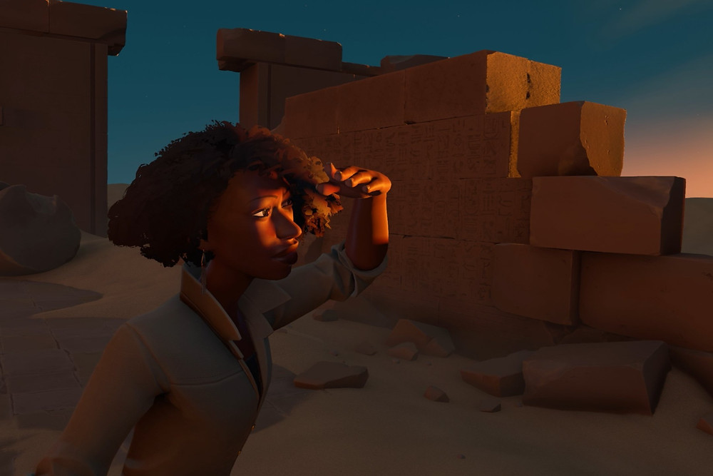 Video game character Rasheesa in the in game Valley of the Gods looking at the sunset
