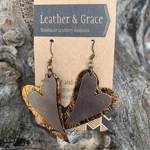 Copper Metal Double Hearts