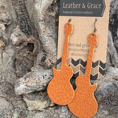 Tangerine Guitar Earrings