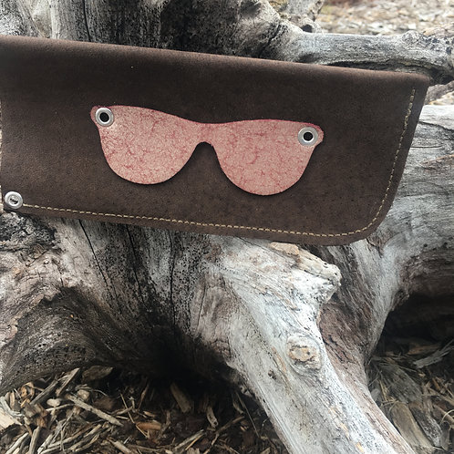 Eyeglass Case in Deep Brown with Mauve Metallic Glasses