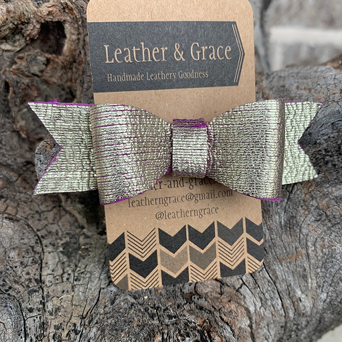 Gold/Purple Bow with Clip