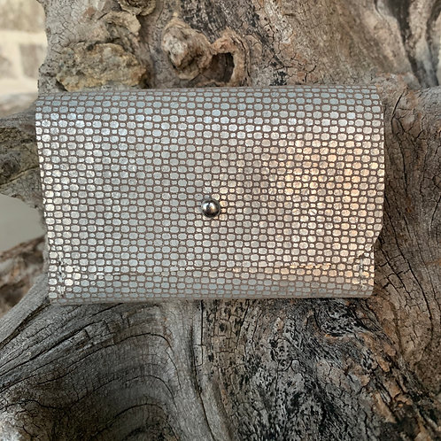 Silver Patterned Tri-Fold Wallet