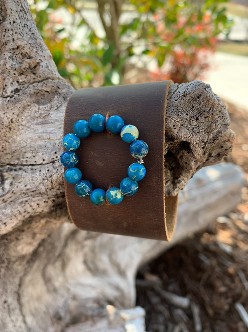 Beaded Ring on Brown Band
