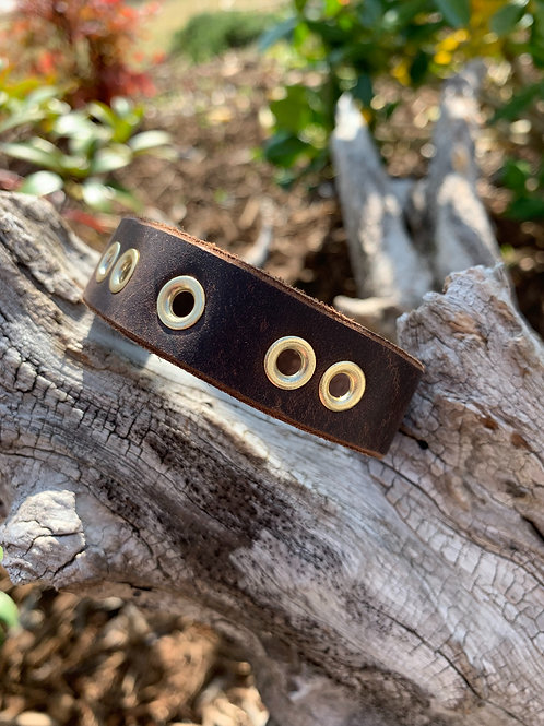 Gold Rivets on Brown Band