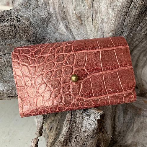 Rose Gold Alligator Tri-Fold Wallet