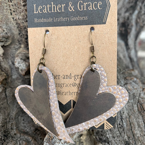 Soft Pink Pebbles and Metal Double Hearts