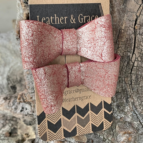 Pink Metallic Crackle Mini Bows with Clips