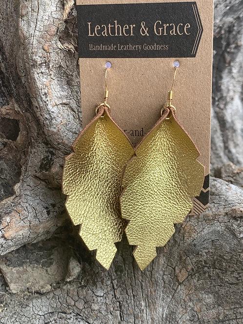 Metallic Gold Leaf Earrings