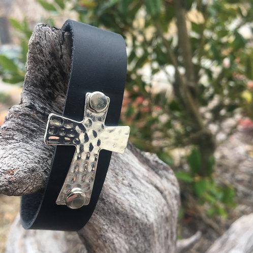 Silver Cross on Black