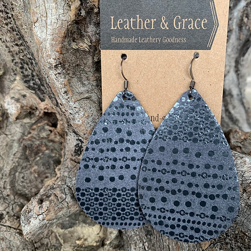 Slate Blue and Metallict Dot Giant Drops