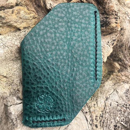 Front Pocket Wallet or Business Card Holder in Emerald Green