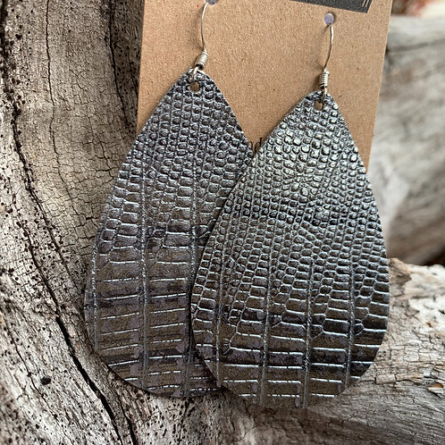 Giant Drops in Grey Metallic Snakeskin