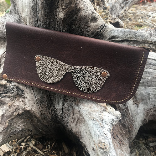 Eyeglass Case: Brown with Metallic Pebble Glasses