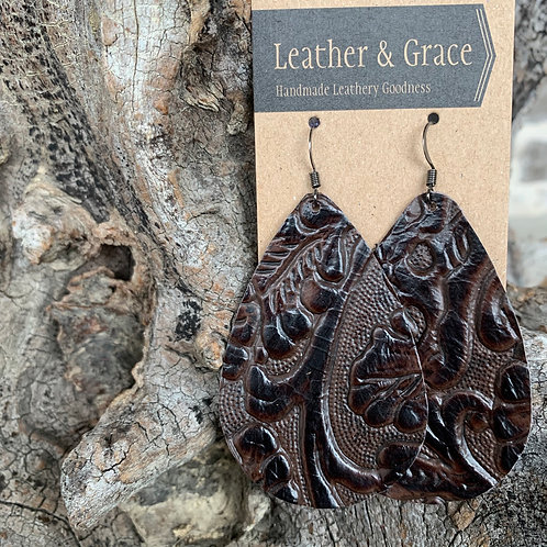 Dark Brown Floral Embossed Giant Drops