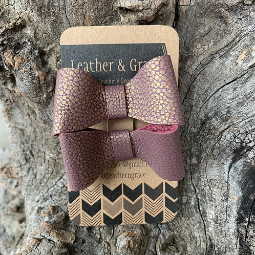 Mauve/Gold Mini Bows with Clips