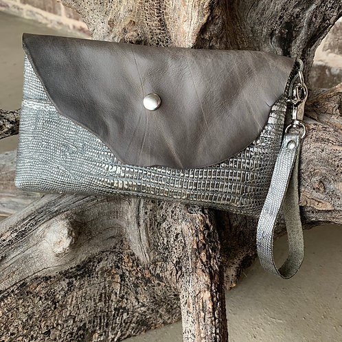 Silver/Grey Snakeskin Wristlet