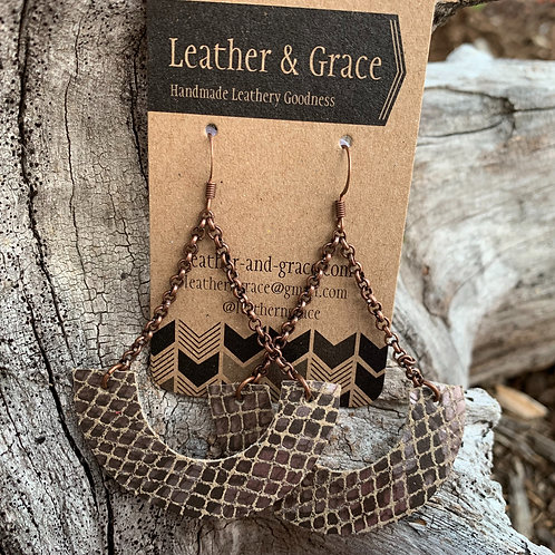 Hanging Crescent in Brown Snakeskin