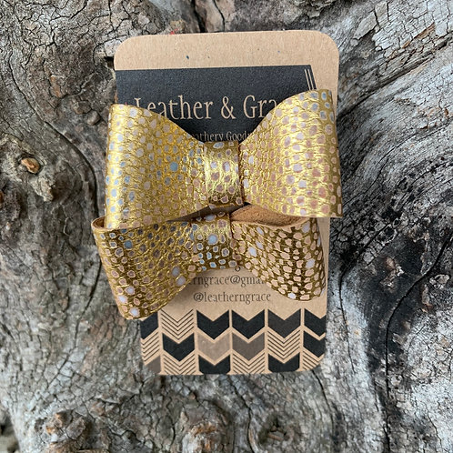Gold Cheetah Mini Bows with Clips