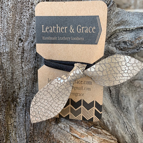 Silver Crackle Hair Tie