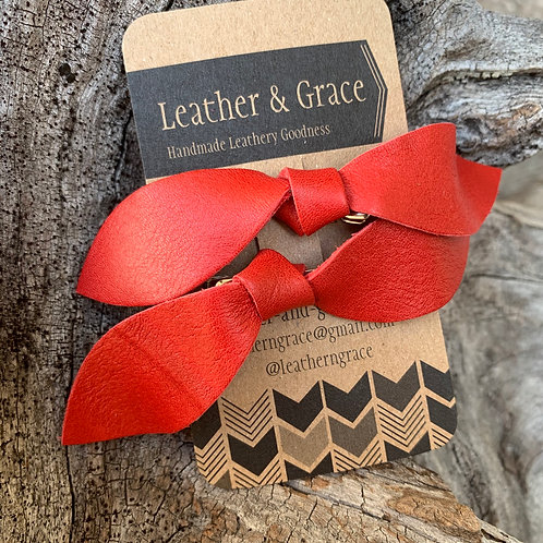 Red Double Bows with Clips