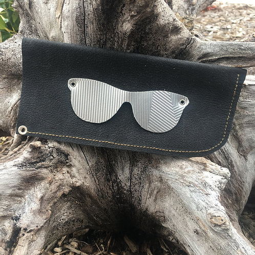 Eyeglass Case in Black Suede with Embossed Silver Glasses