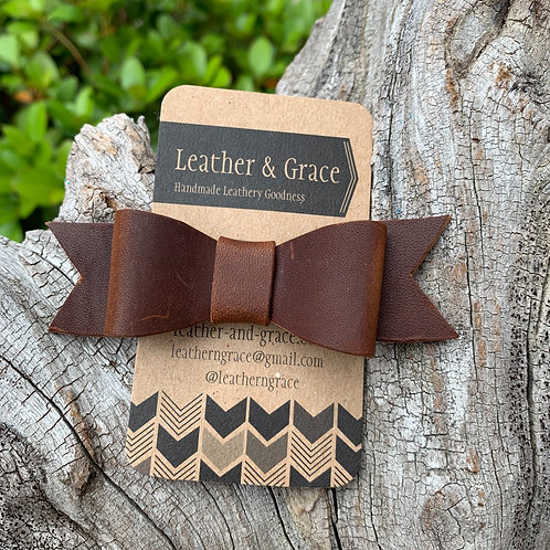 Mini Bow Clip In Deep Brown