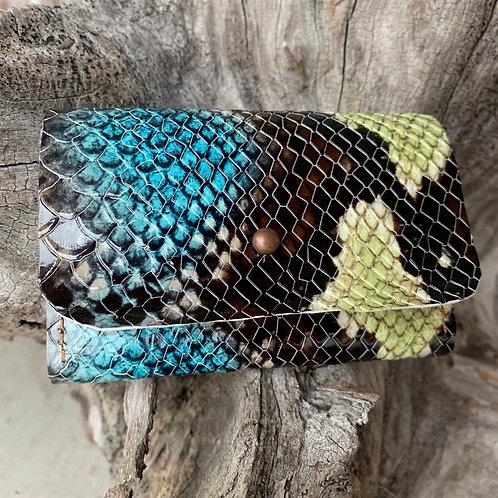 Blue/Green Snakeskin Tri-Fold Wallet