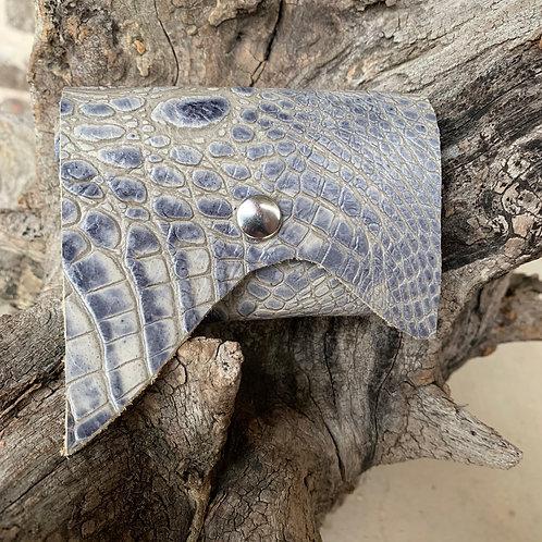 Dusty Blue Alligator Tri-Fold Wallet