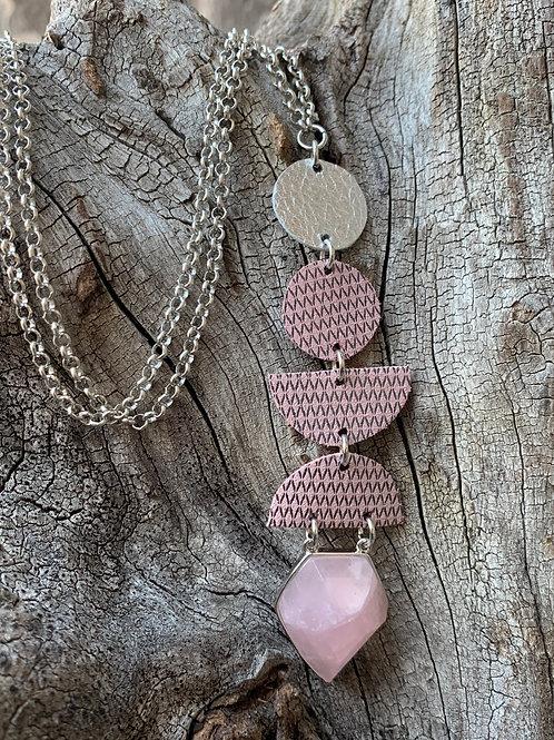 Dusty Pink & Silver Jewel Drop