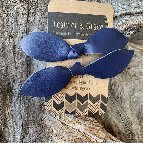 Navy Double Bows with Clips