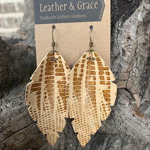 Two Tone Leaf Earrings