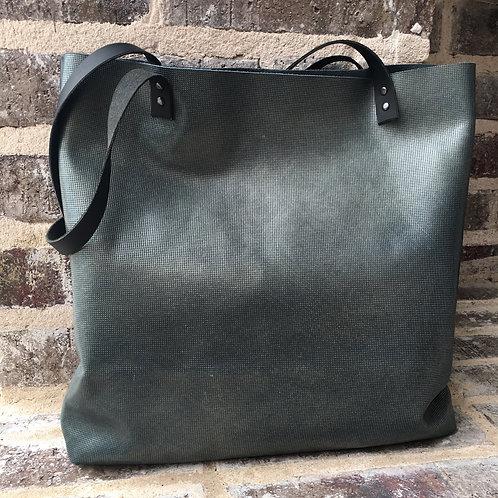 Two Tone Shoulder Bag in Imprint Blue/Teal