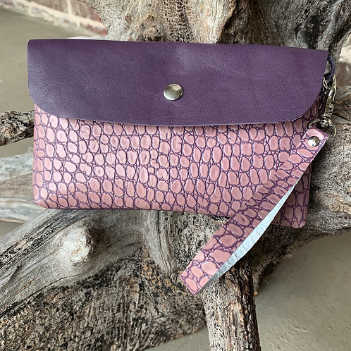 Two Tone Purple Alligator Wristlet