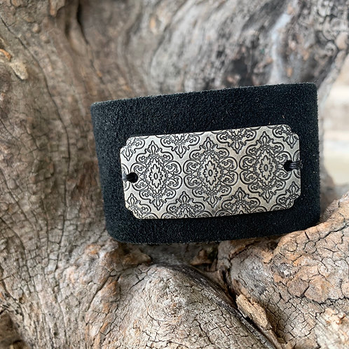 Silver Patterned Bar Cuff