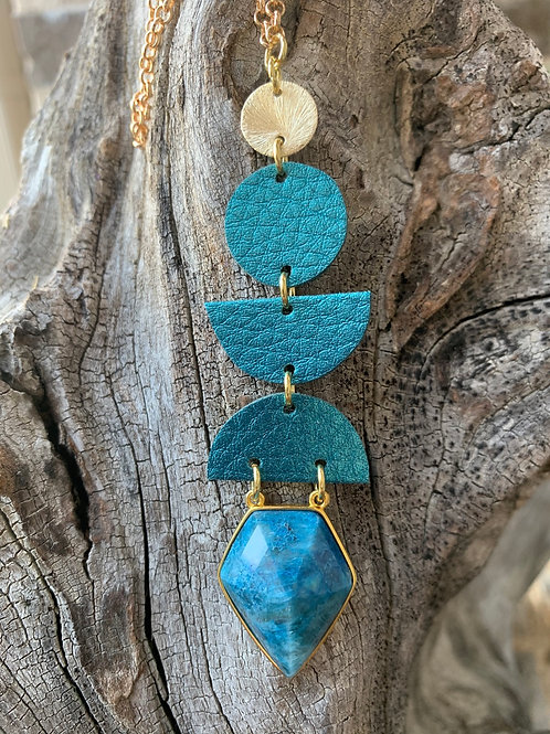 Turquoise and Gold Jewel Drop