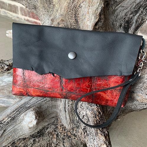 Red/Black Alligator Wristlet
