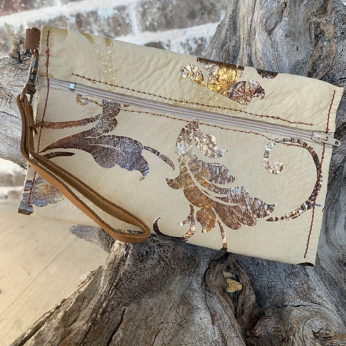 Tan Wristlet with Foil Imprint