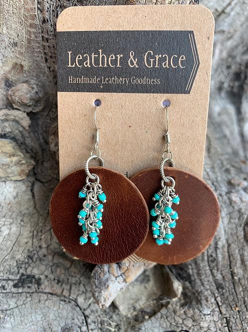Turquoise Beads on Pecan Discs