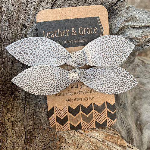 Grey Pebble Double Bows with Clips