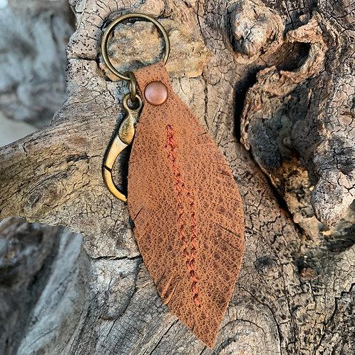 Brown Feather Keychain