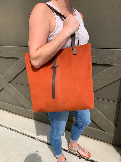 Giant Tote in Two-Toned Burnt Orange Suede