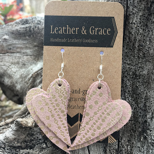Double Hearts in Metallic Pink Spots