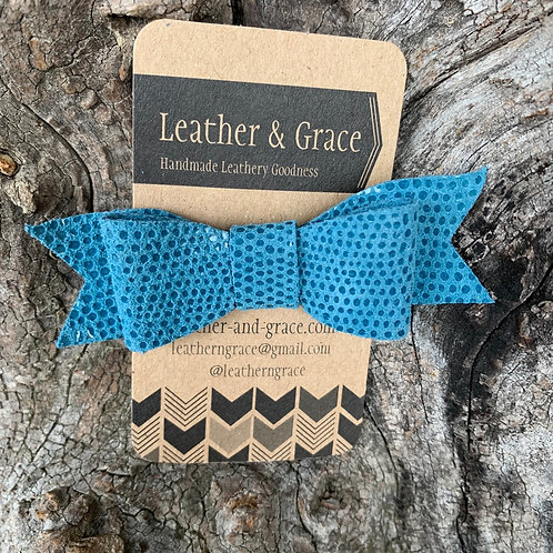 Blue Spotted Mini Bow with Clip