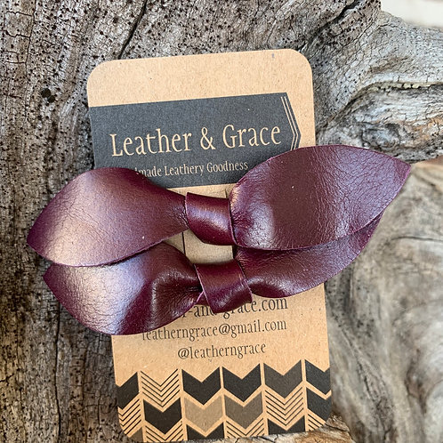 Burgundy Double Bows with Clips