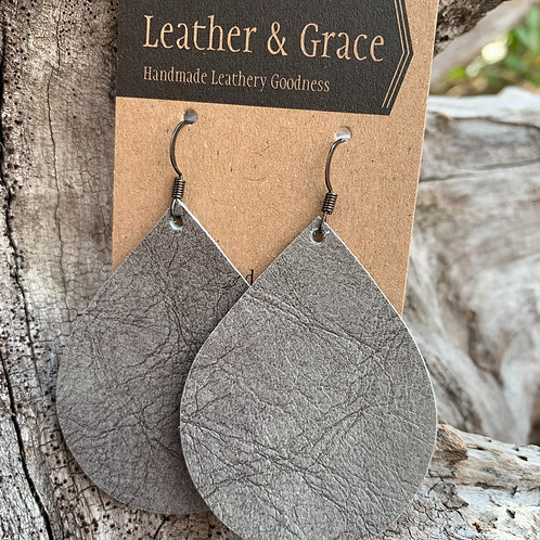 Grey Crackle Teardrops