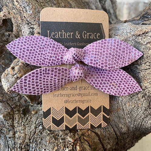 Purple Speckled Double Bows with Clips