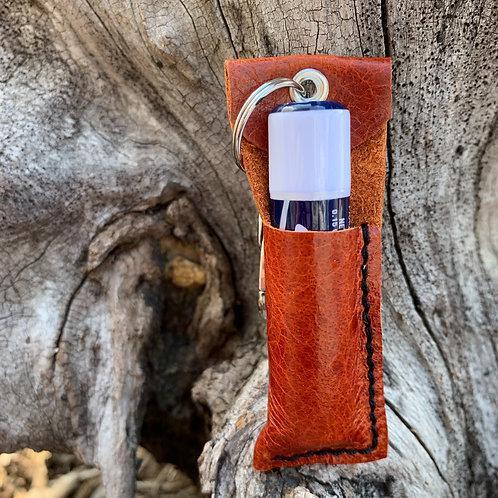 Chapstick Keychain in Reddish Brown